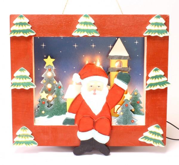 Wandbild aus Holz mit Weihnachtsmann und Christbäumchen, beleuchtet