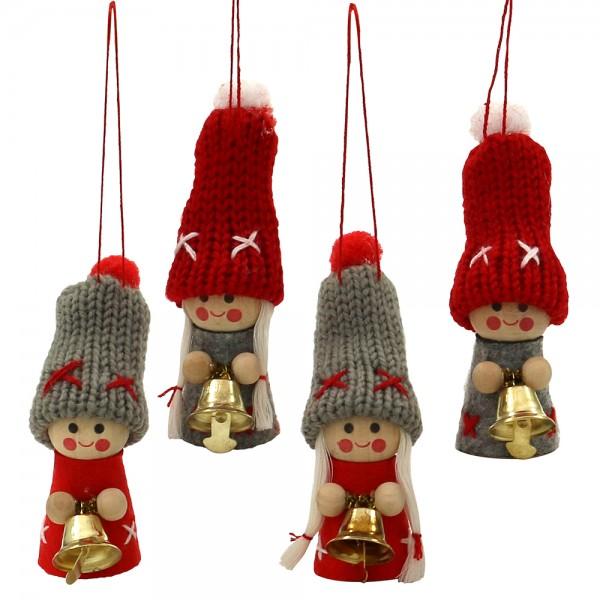 Textil Weihnachtswichtel Junge/Mädchen mit Glocke mit Anhänger (Strickware), grau/rot 4-fach sort. 4 x 4 x 8 cm im Set