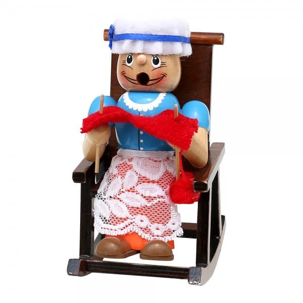 Holz Räucherfigur Oma im Schaukelstuhl 9,5 x 11 x 15 cm