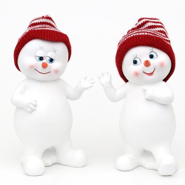 Polyresin Schneekinder mit Strickmütze rot/weiß stehend 2-fach sort. 11,5 x 9 x 20 cm im Set