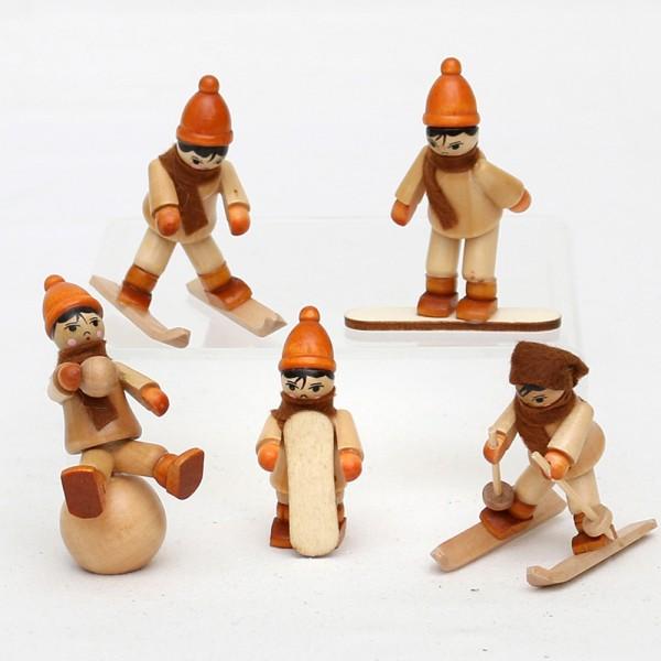 5er Set Holz Winterfiguren mit Ski & Snowboard 4 x 5 x 7 cm