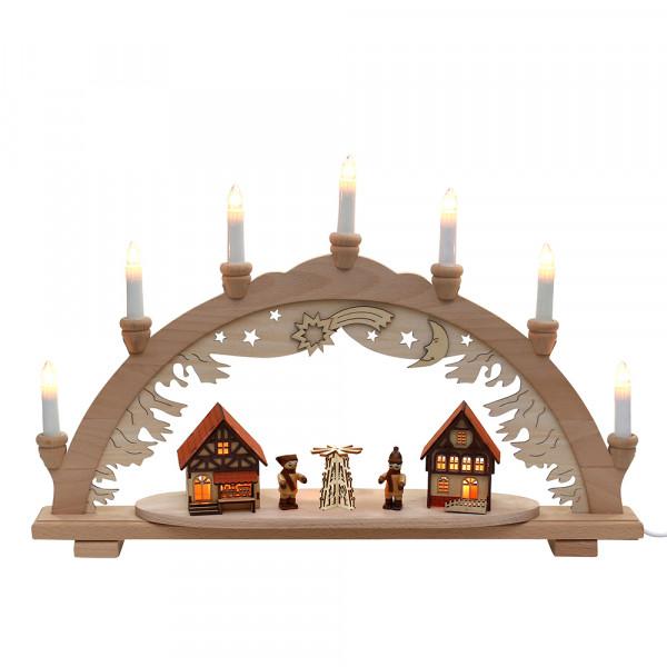 Holz Schwibbogen Pyramide/Winterfiguren/Häuser innen beleuchtet (Premiumholz) 57 x 9 x 38 cm 230 V Kabel, 10 flammig, SPK