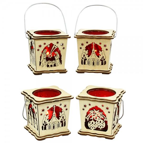 Holz Laterne mit rotem Glaseinsatz für Teelicht (Laserholz) 4-fach sort. 8 x 8 x 14 cm im Set