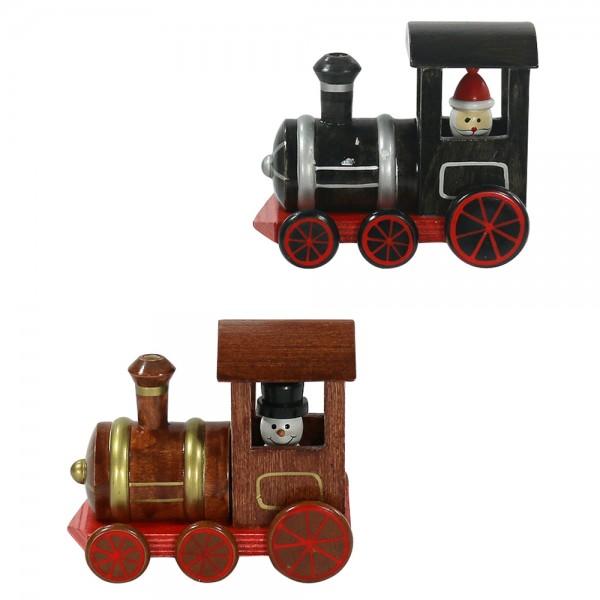 Holz Räucher-Lok, schwarz/braun 2-fach sort. 11 x 6,5 x 9 cm im Set