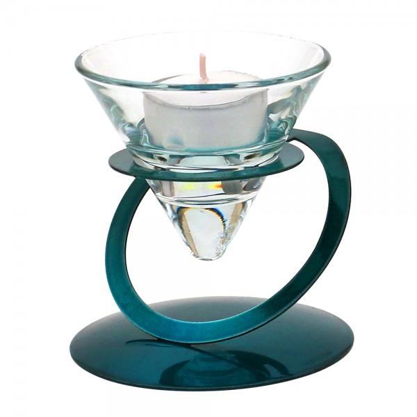 Metall Kerzenhalter türkis glänzend, mit Doppelkreis 9 x 9 x 9,5 cm