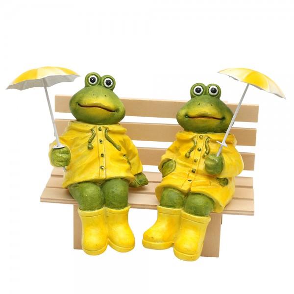 Polyresin Froschfigur sitzend mit Metallregenschirm gelb/grün 2-fach sort. 8,5 x 8 x 15 cm im Set