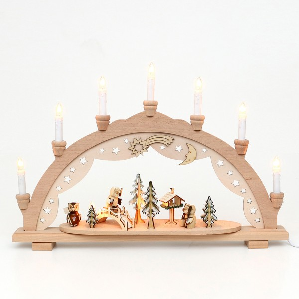 Holz Schwibbogen Eulenwald innen beleuchtet (Premiumholz) 57 x 9 x 38 cm 230 V Kabel, 10 flammig, SPK