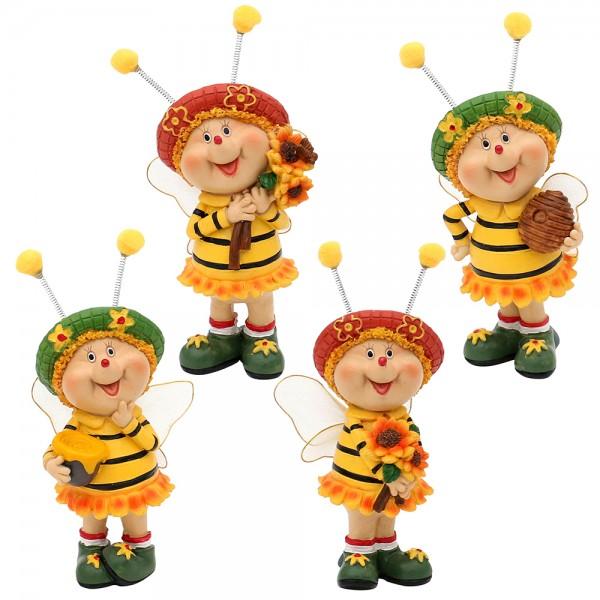 Polyresin Bienen Sarah & Marie stehend 4-fach sort. 7 x 5 x 15 cm im Set