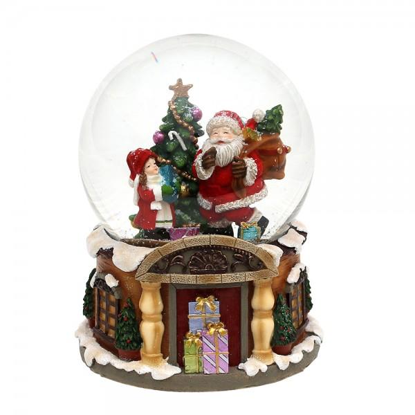 Polyresin Schneekugel Santa mit Kind und Tanne 11 x 11 x 14 cm Ø 10 cm Spielwerk Stille Nacht