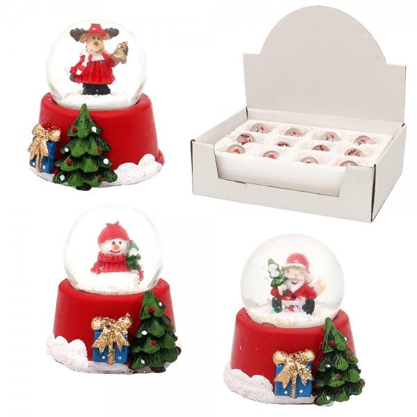 Polyresin Mini-Schneekugel Santa, Schneemann, Rentier 3-fach sort. 4,5 x 4,5 x 5,5 cm Ø 3,5 cm im Set
