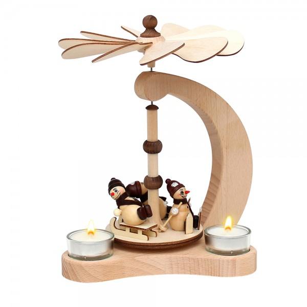 Holz Tischpyramide, hochwertig, Schneemannfiguren für 3 Teelichte (Figuren sotiert) (Buchenholz) 14 x 18 x 24 cm