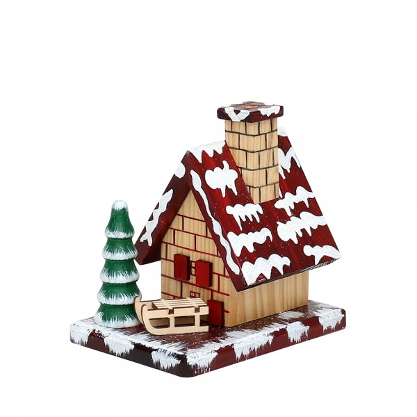 Holz Räucherhaus mit Schnee, braun 12 x 8,2 x 12 cm