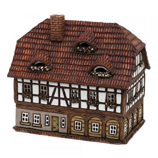 Keramik Licht-Duftölhaus (in Schornstein) Umgebindehaus 16,5 x 11,5 x 15 cm