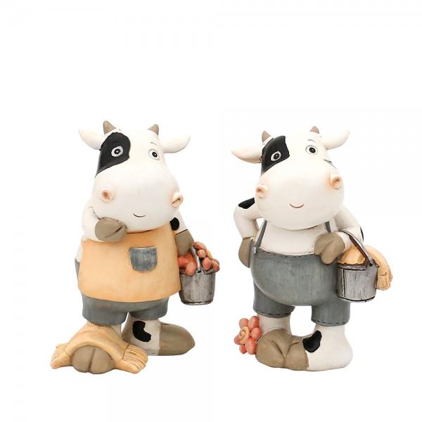 Polyresin Kuh Frau & Mann 2-fach sort. 8 x 5,5 x 11,5 cm im Set
