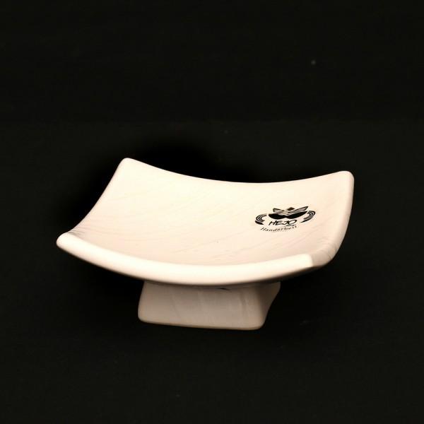 Keramik Schale auf Fuß, Weiß 12 x 12 x 5,5 cm