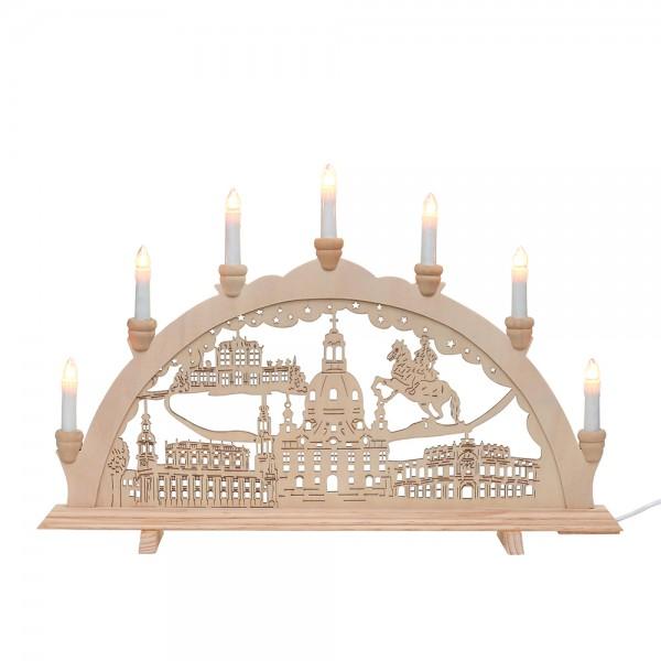 Holz Schwibbogen Dresden 58 x 4 x 38 cm 230 V Kabel, 7 flammig, SPK