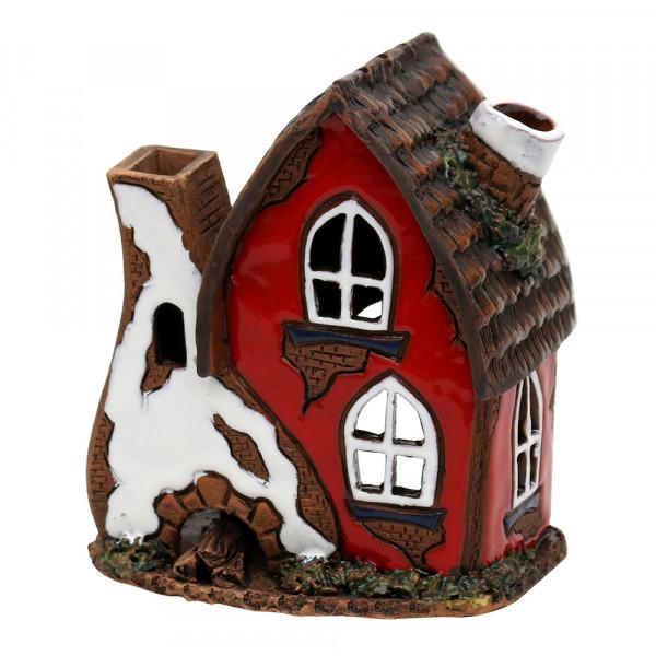 Keramik Licht-Duftölhaus (in Schornstein) rot 10 x 7,5 x 11 cm
