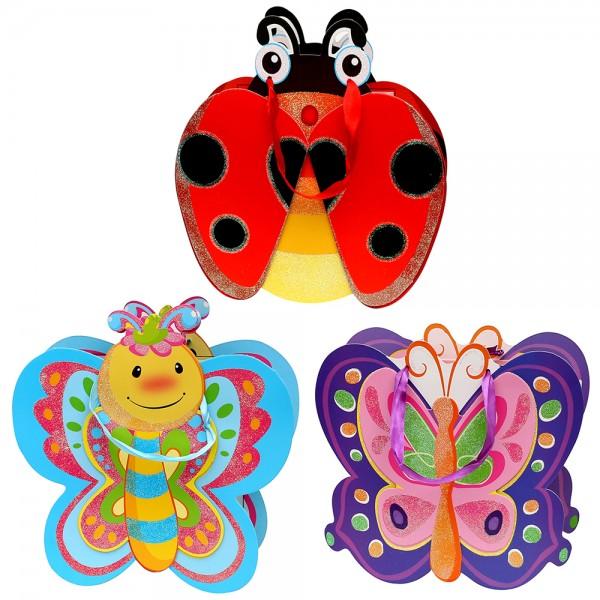 Papier Tragetasche Ladybird & Co. mit Glitter 3-fach sort. 25 x 8 x 26 cm 3D im Set
