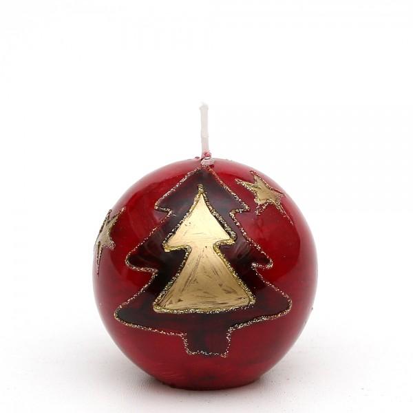 Kugelkerze klein mit Dekor, Tannenbaum Rot/Gold 6 x 6 x 6 cm