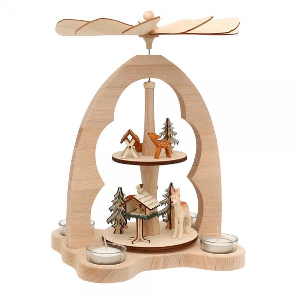 Holz Teelicht-Tischpyramide Rehe für 4 Teelichte (Buchenholz) 23 x 20 x 33 cm
