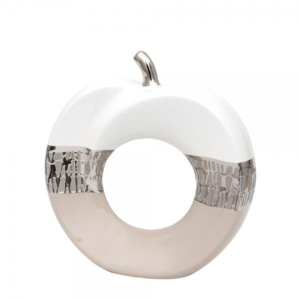 Keramik Apfel Cappuccino silber/weiß 22 x 7 x 22,5 cm