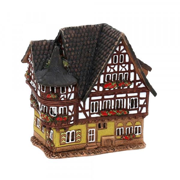 Keramik Licht-Duftölhaus (in Schornstein) Fachwerkhaus 12 x 8,5 x 12,5 cm