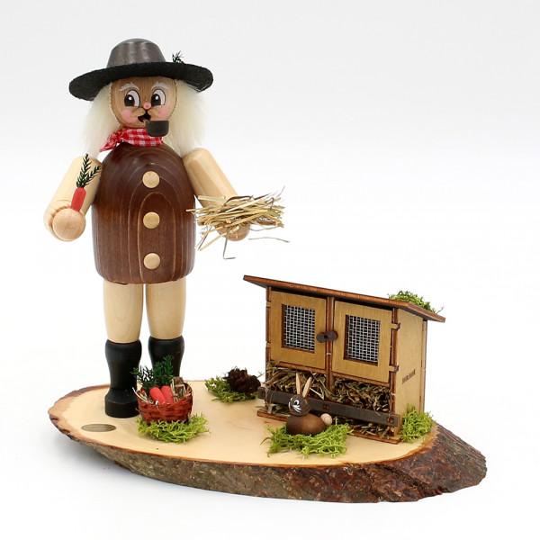Holz Räuchermann Günter der Hasenzüchter 21 x 12 x 21 cm