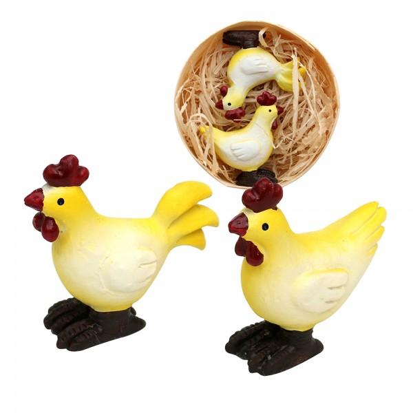 2er Set Polyresin Behanghühner in Spandose 1 x 3 x 3,5 cm