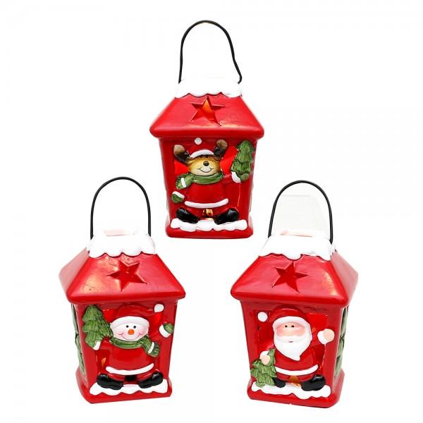 Keramik Laterne Weihnachtsmann / Schneemann / Rentier rot mit Schnee 3-fach sort. 6,5 x 6,5 x 9 cm LED im Set