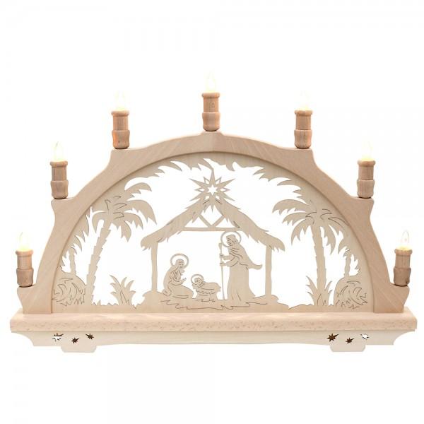 Holz Schwibbogen Heilige Familie Made in Germany (mit Laserfuß) 57 x 6 x 38 cm 230 V Kabel, 7 flammig, SPK