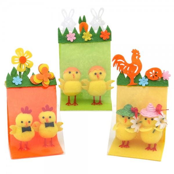 2er Set Kunststoff Küken auf Filz mit einer dekorativen Verpackung 3-fach sort. 6 x 5 x 12 cm im Set