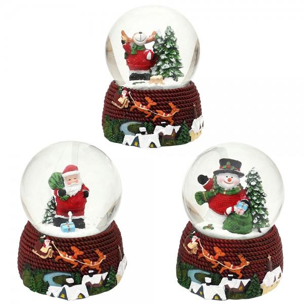 Polyresin Schneekugel SM/Elch/ WM auf Sockel mit Rentierschlitten 3-fach sort. 11,5 x 11 x 14,5 cm Ø 10 cm Spielwerk Jingle Bells, Spielwerk Santa Claus is coming to town, Spielwerk White Christmas im Set