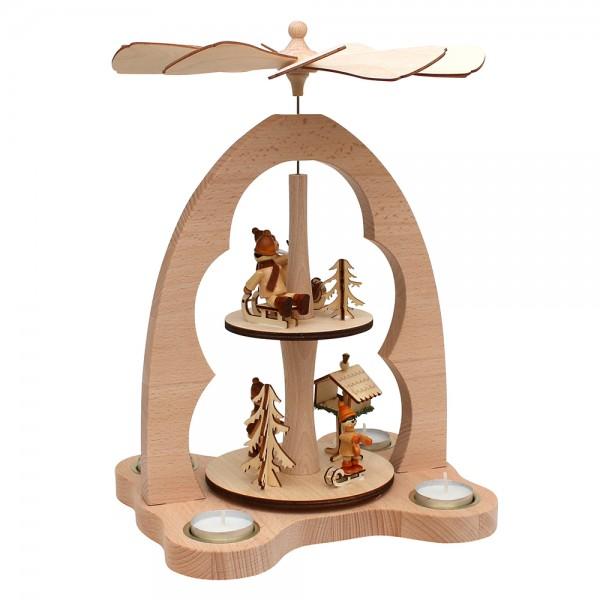 Holz Teelicht-Tischpyramide Vogelfütterung für 4 Teelichte (Buchenholz) 23 x 20 x 33 cm