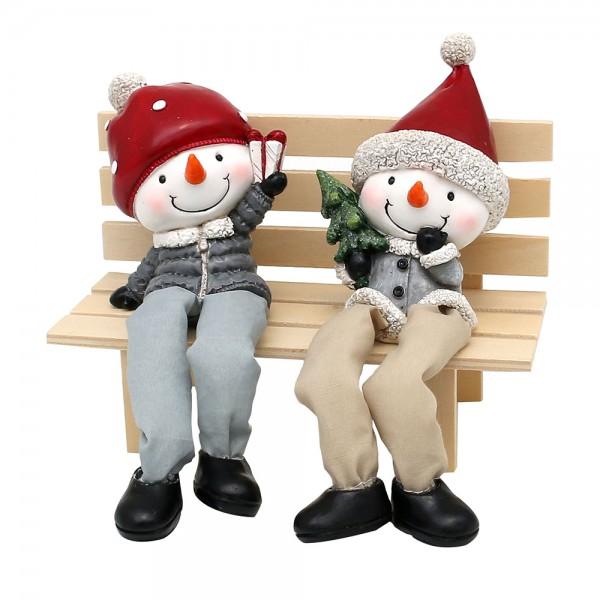 Polyresin Schneemann Figuren Kantensitzer mit Geschenk und Tannenbaum 2-fach sort. 7 x 4 x 20 cm im Set
