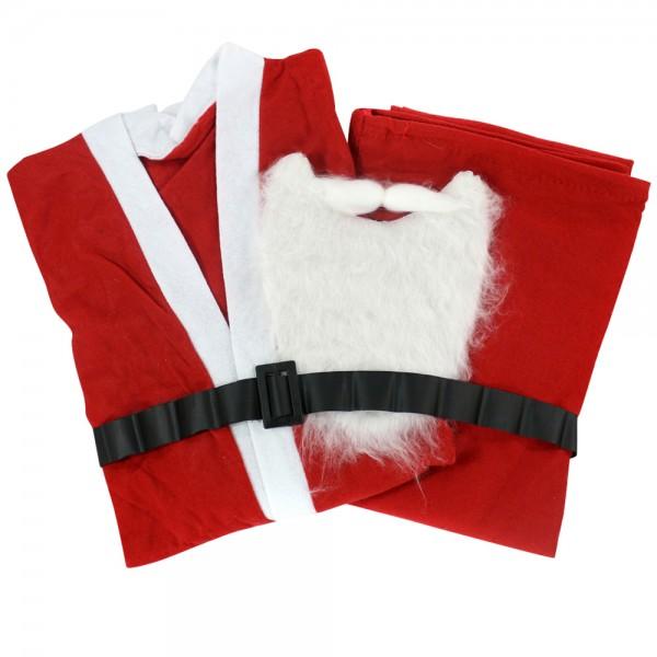 Filz Weihnachtsmannanzug mit Bart und Gürtel (Universalgröße), rot/weiß 136 x 56 x 118 cm
