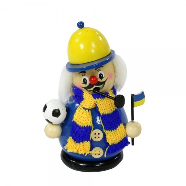 Holz Räucherfigur Fußballer mit Strickschal, blau/gelb 7 x 6 x 12 cm