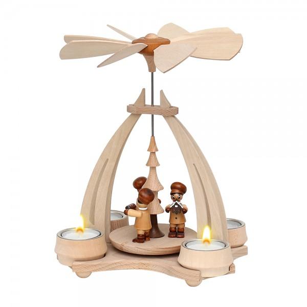 Holz Tischpyramide Bäckerfiguren klein für 4 Teelichte (Figuren sortiert) 14 x 18 x 24 cm