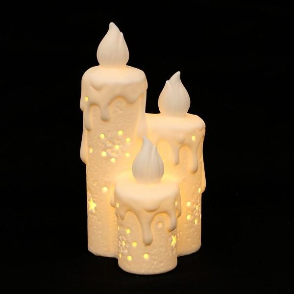 Porzellan Windlicht Kerzen, weiß, durchscheinend 9 x 8,7 x 17,4 cm LED