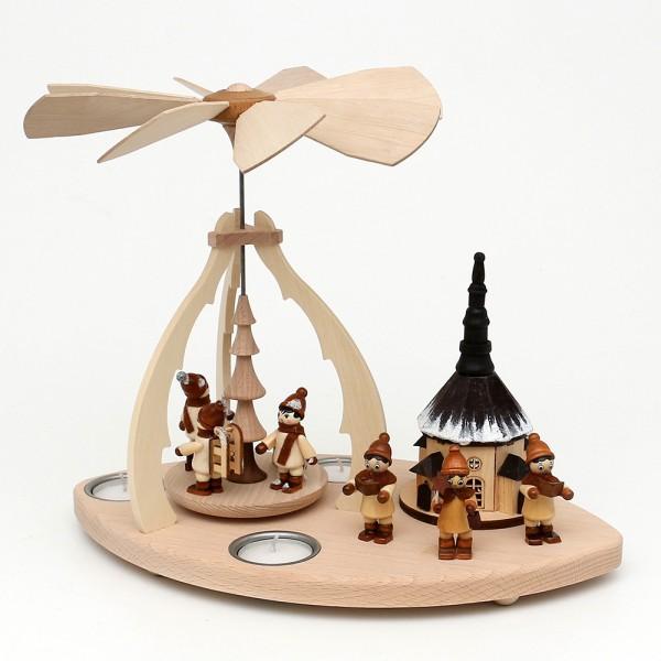 Holz Tischpyramide mit Szene Schlittenfahrt/Seiffen/Kurrende für 3 Teelichte 32 x 19,5 x 25 cm