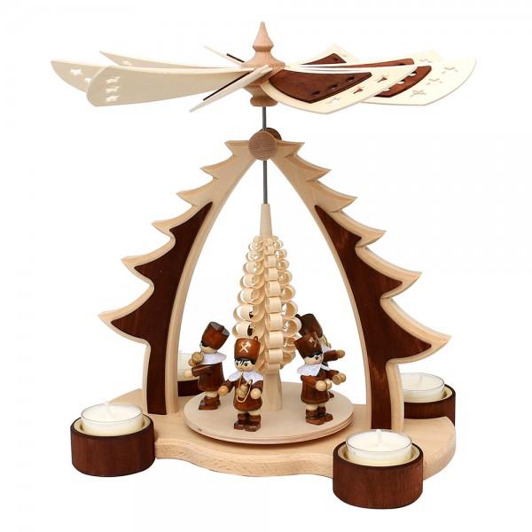 Holz Pyramide Baum Bergleute mit Spanbaum für 4 Teelichte natur/braun und zweifarbigem Flügelrad 24,5 x 16,5 x 27,5 cm