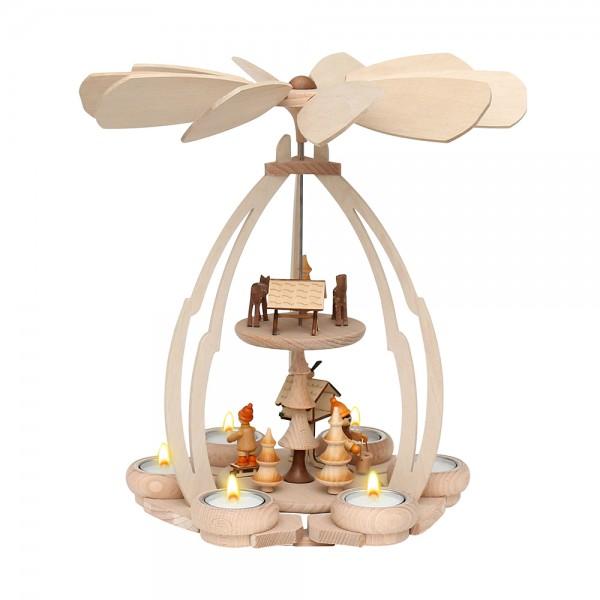 Holz Tischpyramide Vogelfütterung mittel für 6 Teelichte 24 x 24 x 35 cm