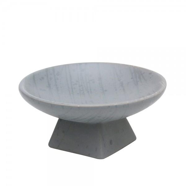 Keramik Schale auf Fuß, Grau 16,5 x 16,5 x 7,5 cm
