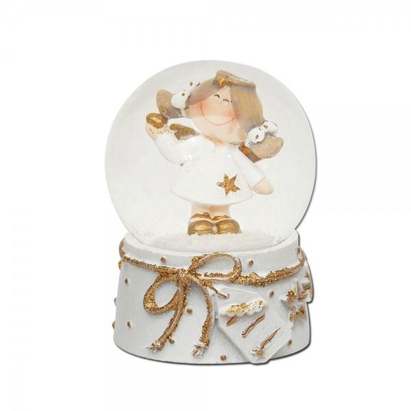 Polyresin Schneekugel Engelfigur mit weiß/goldenem Sockel verziert 4,5 x 4,5 x 6,5 cm Ø 4,5 cm