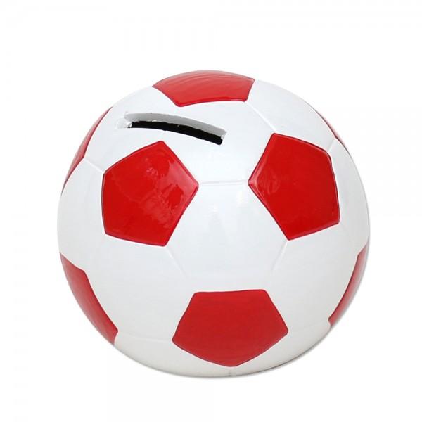 Keramik Spar-Fußball, rot/weiß 10 x 10 x 10 cm