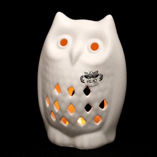 Keramik Teelichthalter Eule, Weiß 12,5 x 9,5 x 17,5 cm