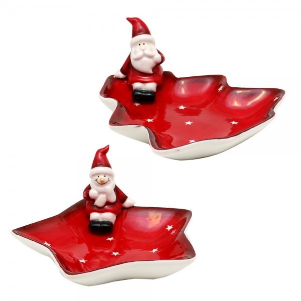 Dolomite Teller Stern / Tanne mit Schneemann / Weihnachtsmann, rot/weiß glasiert 2-fach sort. 15,5 x 14,8 x 8,2 cm im Set