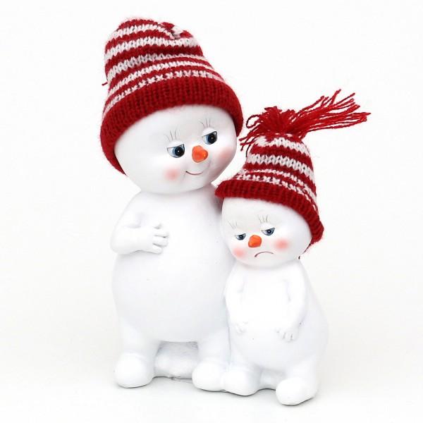 Polyresin Schneekinder mit Strickmütze rot/weiß 2er Paar 11 x 6,5 x 15 cm
