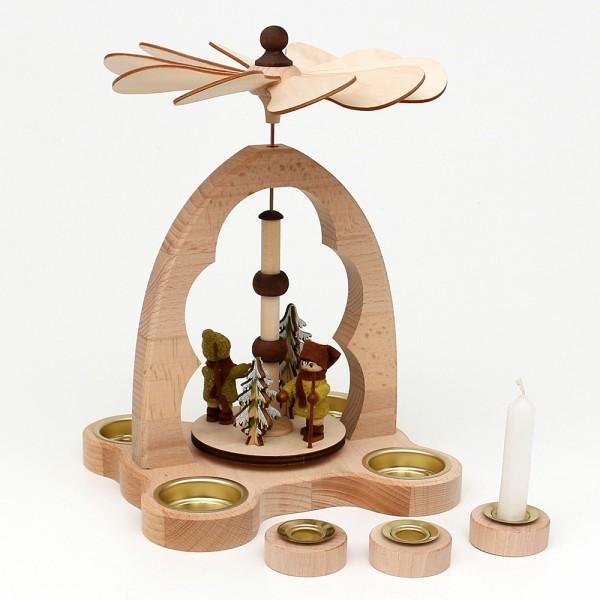 Holz -Tischpyramide Moosma & Moosfra für 4 Teelichte inkl. 4 Pyramidenkerzen-Adapter (Buchenholz) 16 x 18 x 24 cm
