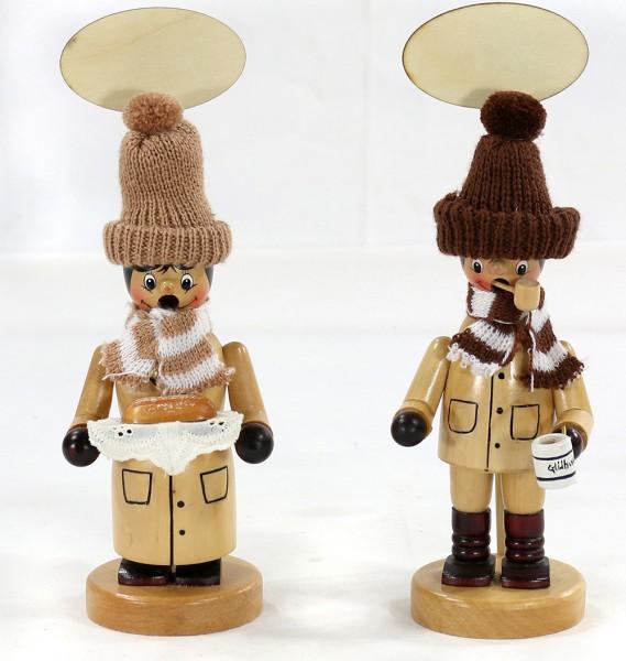 Holz Räucherfigur Weihnachtsmarktbesucher mit Strickmütze und Schild, natur 2-fach sort. 7,5 x 7,5 x 22,5 cm im Set