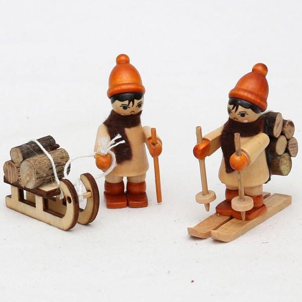 2er Set Holz Figur Holztransport mit Ski & Schlitten 2,5 x 5,5 x 6 cm